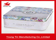Custom Tinplate Material CMYK Printing Square Biscuit / Cookie Tin Box ISO 9001 Certification