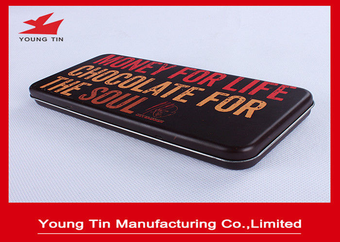 Custom Printed Rectangle Chocolate Tin Boxes Recyclable With Hinges YT1149