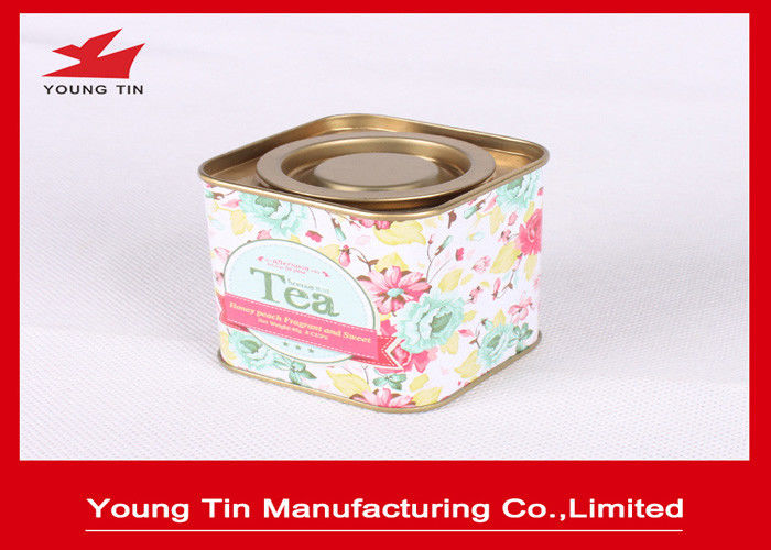 Mini Square Tinplate Metal Airtight Tea Storage Tin Containers 55 x 55 x 60 MM With Cap