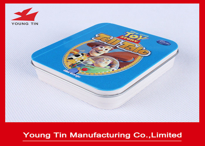 Eco - Friendly Square Metal Tins With Hinges On Lid Top , Metallic Tinplate Mints Tin Box