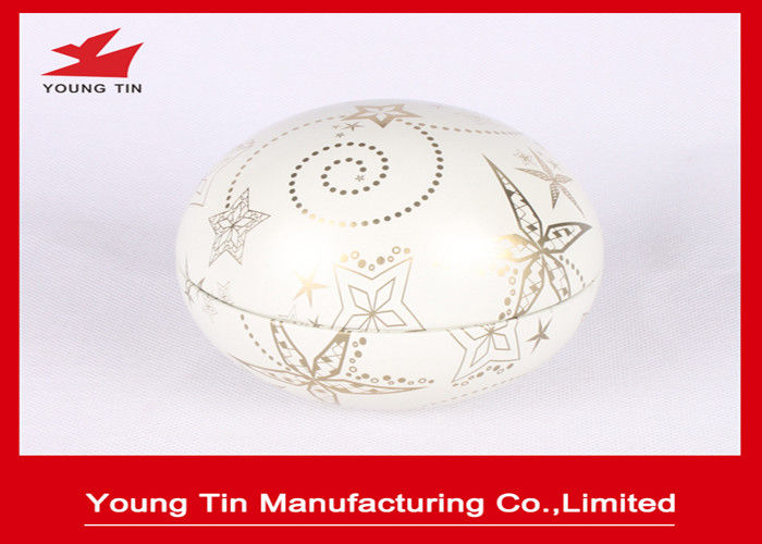 Bubble Shaped Gift Packaging Egg Tin Box CMYK Printed For Christmas Day Promotion