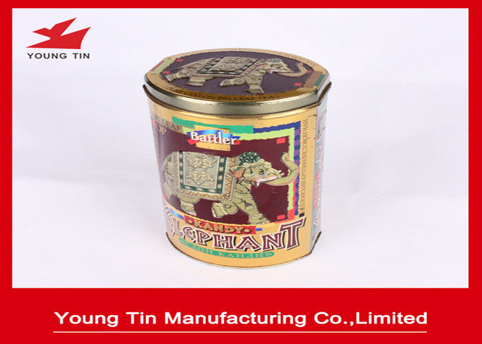 Vintage Design Full Color Printed Oval Shape Big Leaf Tea Packaging Tin Box