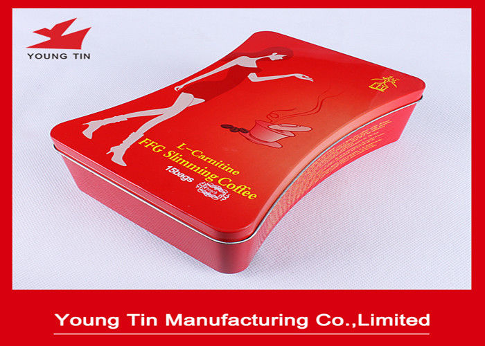 Irregular Slimming Coffee Packaging Metal Tin Box With CMYK Printing Outside Glossy Finish