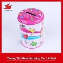 Full Color Printed Round Tin Money Box Metal Tinplate Material Lock Attached